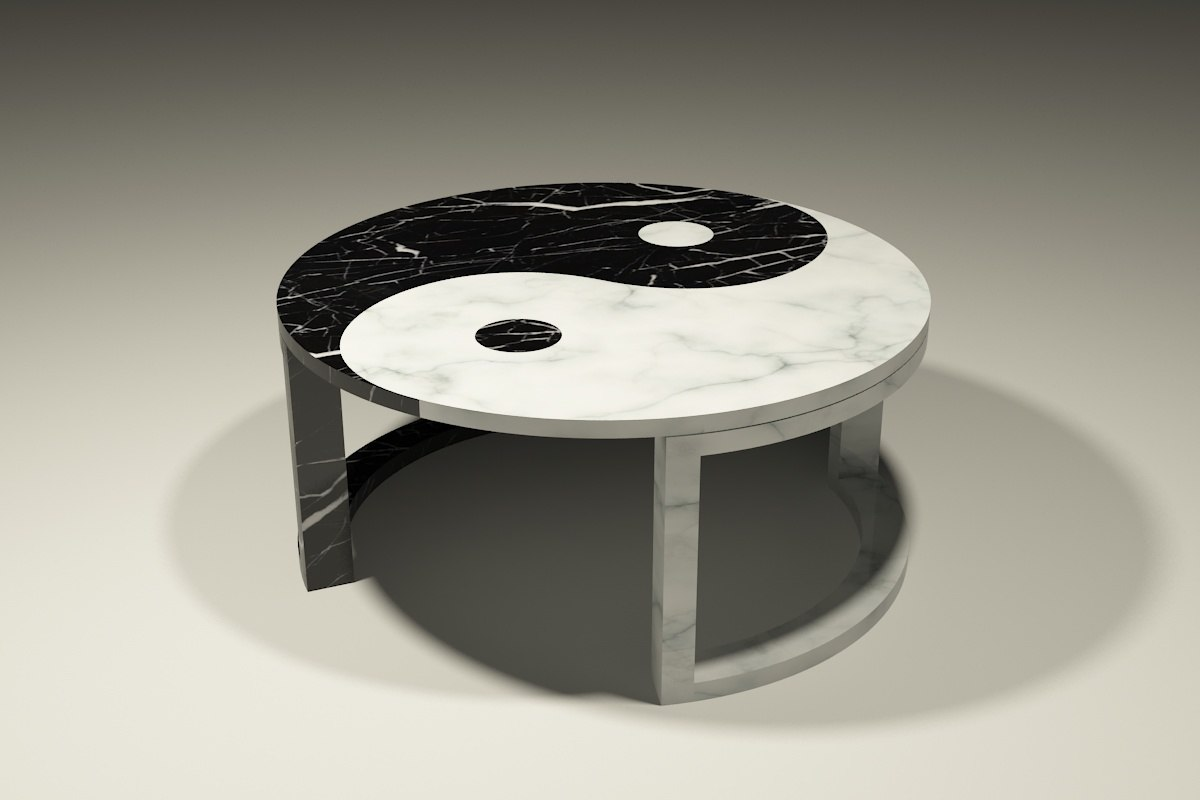 3d yin yang marble coffee table for Table yin yang