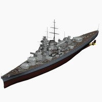 3d model battleship gneisenau ww2 german