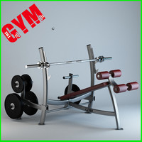 olympic decline press weight 3d model