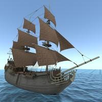 ship black pearl 3d obj