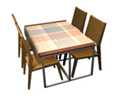 set restaurant table 4 3d max