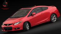 realistic honda civic coupe 3d model