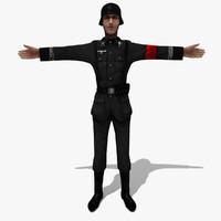 3d soldier german man model
