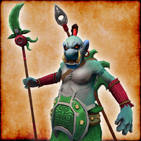 3d model hand painted troll warrior character