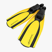 swim fins 2 yellow 3d c4d