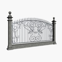 3d fence wrought metal model
