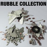 rubble junk piles 3d model