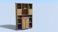 3d 3ds book bookshelf shelf