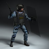 rigged omon police officer 3ds