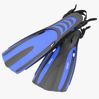 oceanic viper fins blue 3d obj