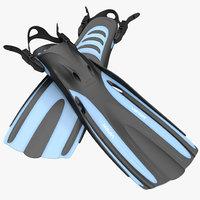 3d obj oceanic viper fins blue