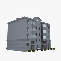 3d x building lamppost bushes
