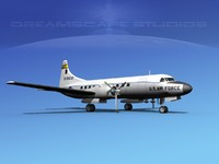 3d model propellers convair c-131 military transport