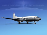 3d propellers convair c-131 military transport model