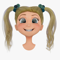 rigged cartoon girls head 3d max