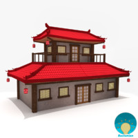Asian temple - pagoda low poly
