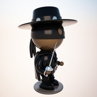 cartoon zorro character 3d model