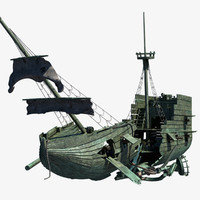 3d wrecked ship model