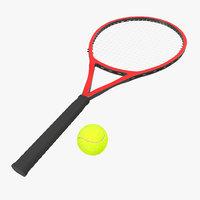 3d model tennis racket ball fur