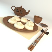 3d model of chinese dumplings
