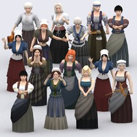 3DRT - Medieval Peasants Females Construction Kit