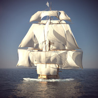 3d old ship sails foam