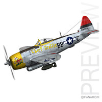 republic p-47 thunderbolt - 3d model