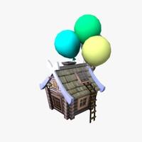 3d model fairy flying hut