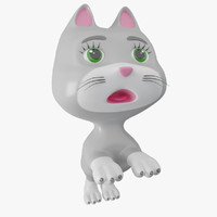 3d cat toon cartoon model