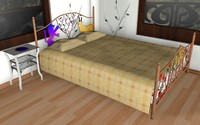 family double bed c4d