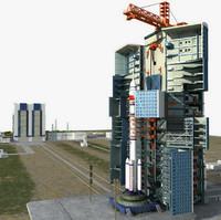 satellite launch pad 3d model