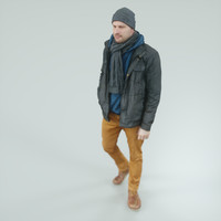 casual male walking 3d model