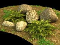 3d juniper stones grass model