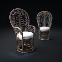 3dsmax peacock-rattan-fabric-armchair