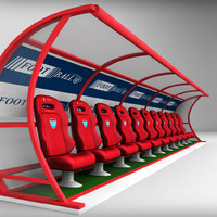 stadium seating reserve bench 3d model