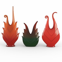 3ds glass vases bromelia