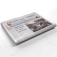 Financial Times folded newspaper
