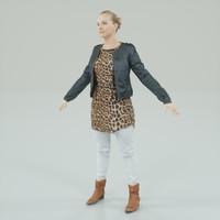 a-pose blonde woman 3d model