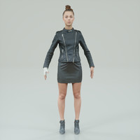 3d a-pose girl dressed black