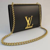 leather vuitton purse 3d model