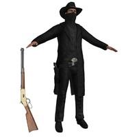 3d model cowboy belt revolver