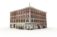 small town building old brick fbx