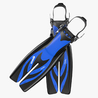 3d model swim fins 3 blue