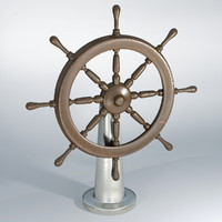 3d model ship wheel historic wood