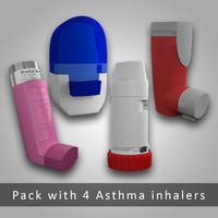 pack 4 asthma inhalers 3d max