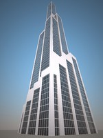 3d max low-poly skyscraper