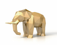 3d model of elephant faceted sculpture
