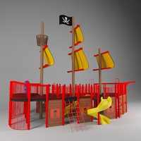 3d pirate ship kids playground model