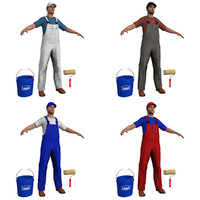 3d model pack paint worker man