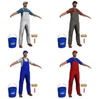 3d model pack paint worker man